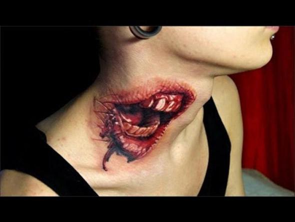 Body painting bouche ensanglantée sur coup de femme