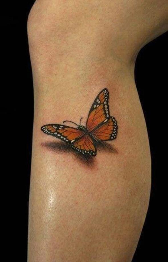 Body painting mollet de femme avec papillon 3D