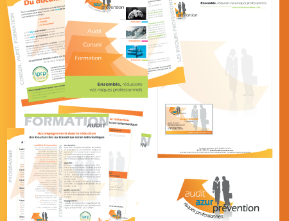 Brochure, logo, carte de visite et tête de lettre pour Audit Azur Prévention