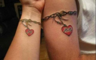 Couple-Tattoo-bracelet-coeur-perle