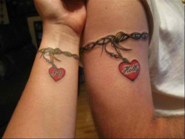 Couple-Tattoo-bracelet-coeur-perle