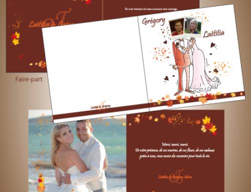 Faire-part, carte de remerciement et menu de mariage