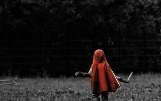 couleur-unique-noir-blanc-enfant-chaperon-rouge-porte-branche-champs
