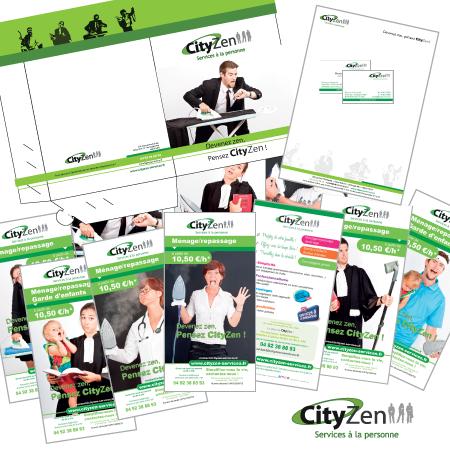 Création flyer, logo, chemise pour Cityzen service à la personne par EM3C