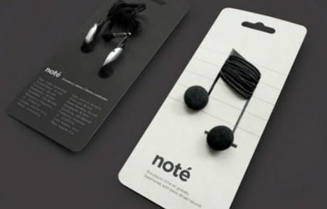 packaging-produit-astucieux-écouteurs-note-musique