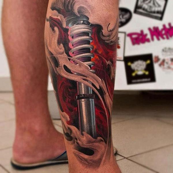 tatoo-jambe-amortisseur-ecorche