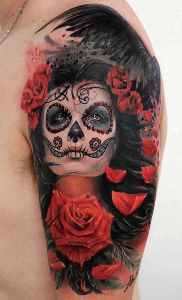 tatoo-visage-femme-rose-maquillage