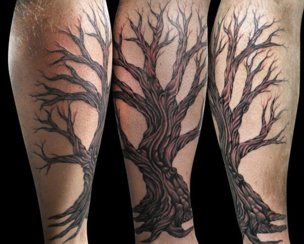 tatouage-jambe-arbre