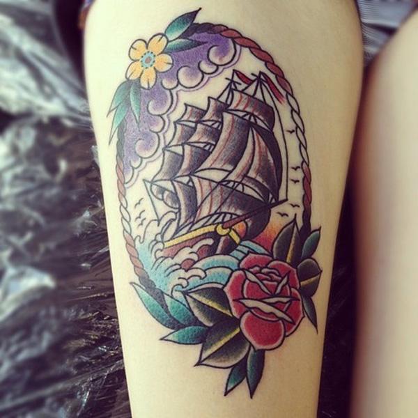 tatouage-jambe-grement-voilier-bateau