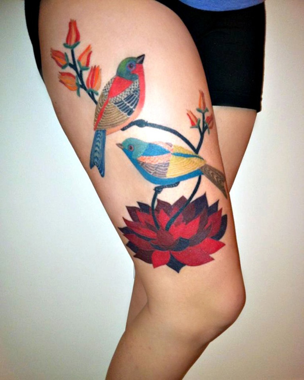 tatouage-jambe-oiseaux-illustration