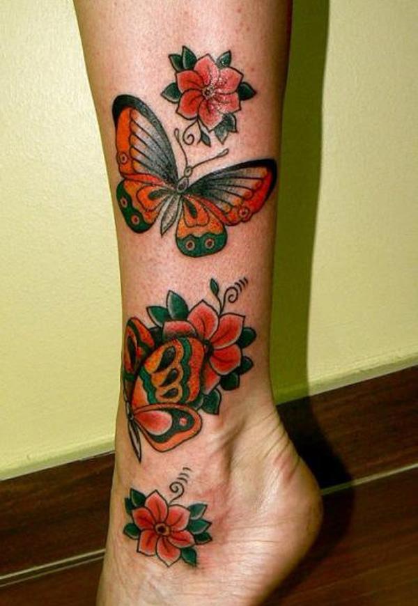 tatouage-jambe-papillons-fleur