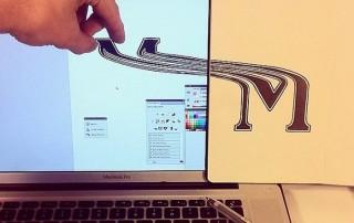 typographie-interactive-cyril-vouilloz-rylsee-lettre-M-etiree-depuis-feuille-sur-ecran
